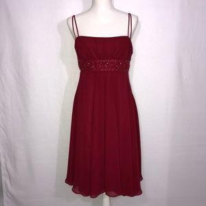 David's Bridal Red Embellished Empire Dress 12